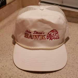 Vintage John Stories Hawk trucker hat white